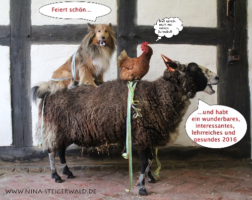 Ein Schaf, auf dem ein Hund und ein Huhn sitzen.